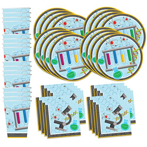 Price comparison product image Super Science Birthday Party Supplies Set Plates Napkins Cups Tableware Kit for 16 by Birthday Galore