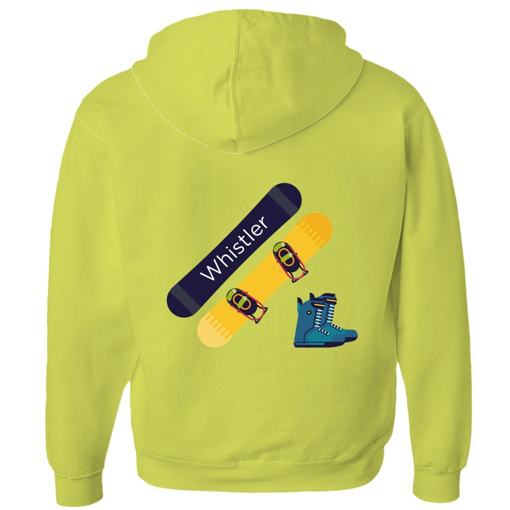 Tenn Street Goods Whistler BC, Canada Snowboard and Boots - Unisex Fleece Full-Zip Hoodie (Yellow, Large)