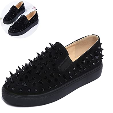d20a159a1eda7c Fashion Flats for Women Spring Round Toe Slip On Loafers Suede Leather Rivet  Shoes Black Red