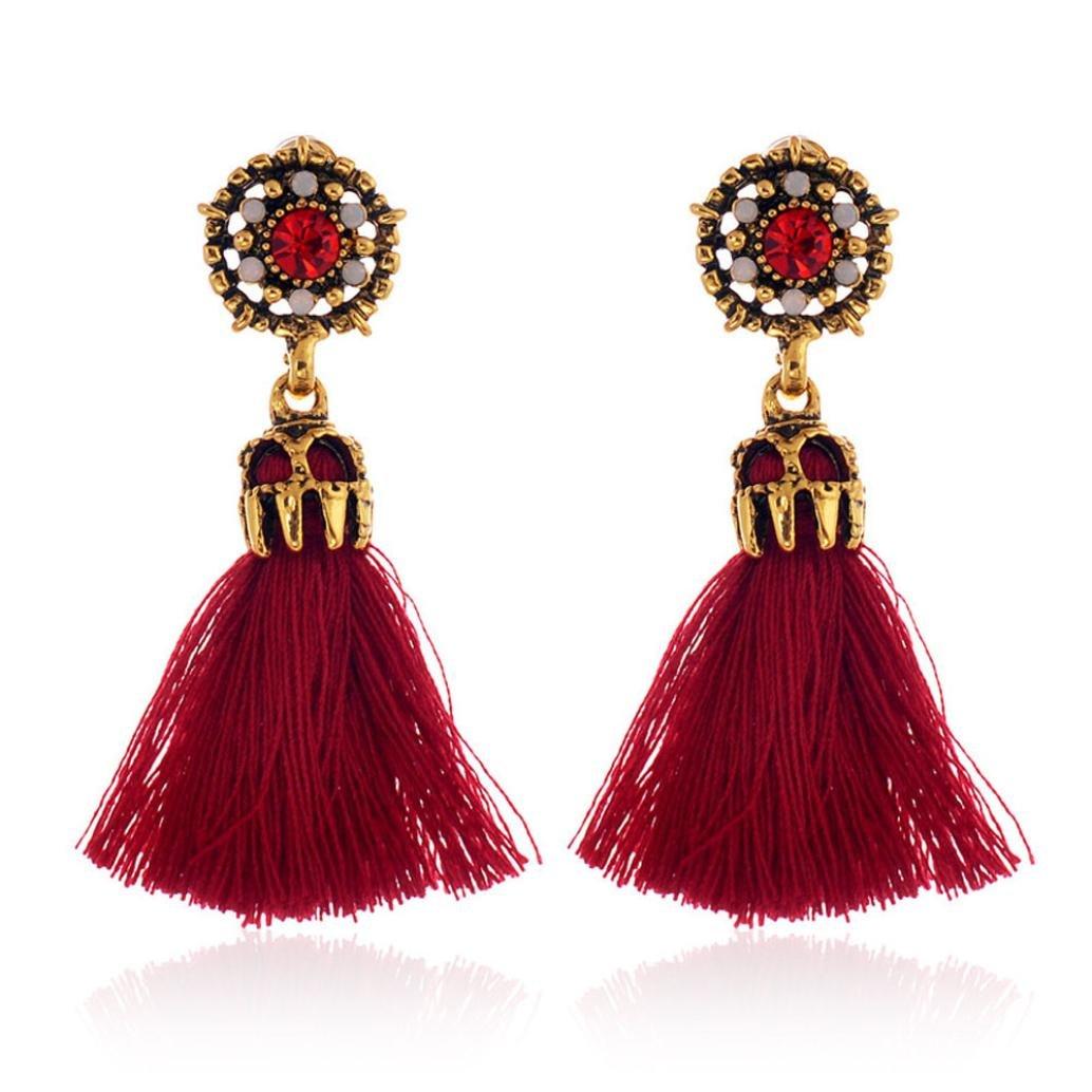 Coromose Women Girls Vintage Crystal Tassel Dangle Stud Earrings Fashion Jewelry (Beige)