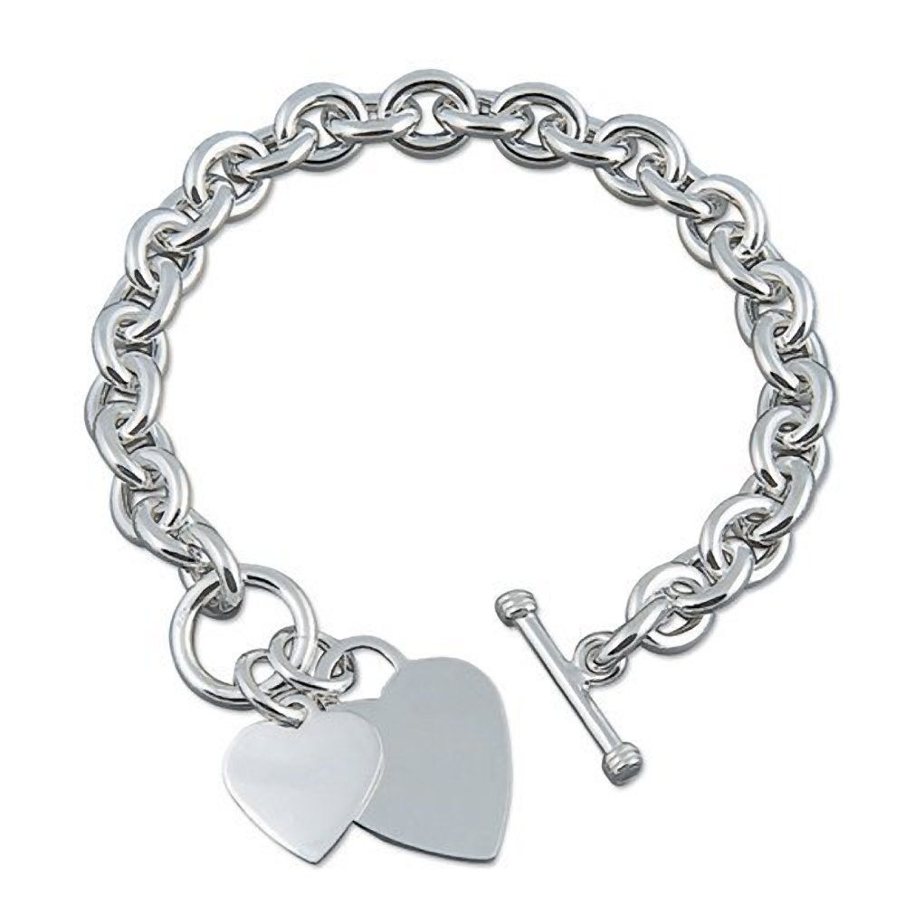 088c6a500 Double Heart Charm Sterling Silver Bracelet - Heavy (50 Grams) Chunky Silver  Bracelet With Heart Tag - 8