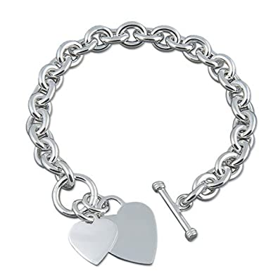 dd50782c1 Double Heart Charm Sterling Silver Bracelet - Heavy (50 Grams) Chunky Silver  Bracelet With Heart Tag - 8