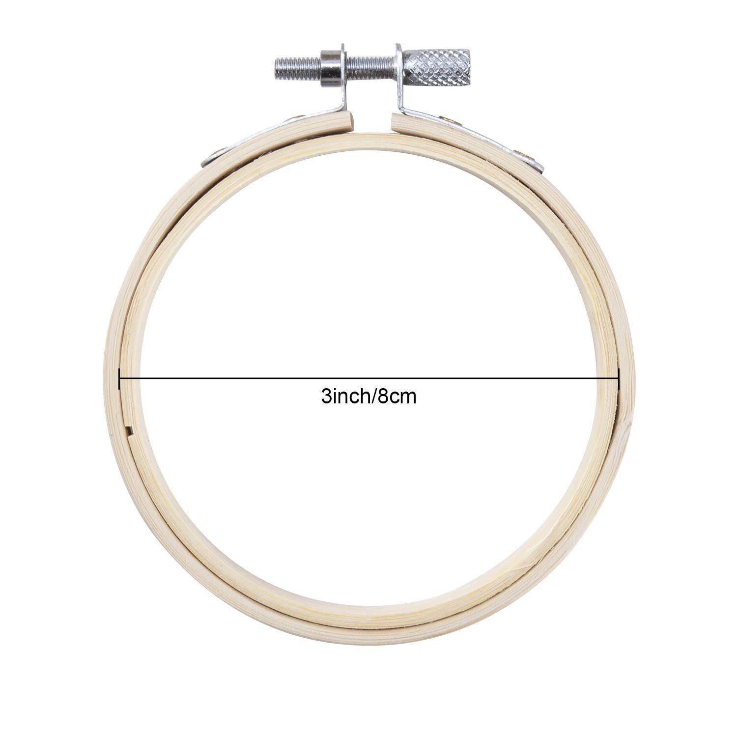3 inch Waloden 16 Pieces 3 Inch Bamboo Round Embroidery Hoops Cross Stitch Hoop Adjustable Bamboo Circle Cross Stitch Hoop Ring
