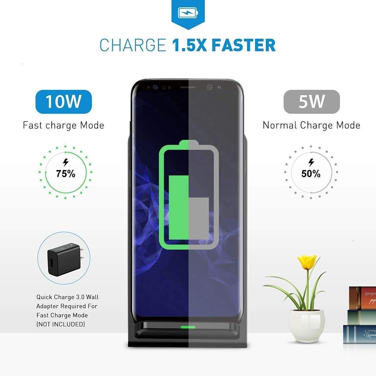 I-Sonite Noir Qi certifi/é de Bureau Ultra-Rapide Chargeur sans Fil Station de Recharge 10W Support et Ultra-Mince Qi Module r/écepteur Chip pour Samsung Galaxy A5 2017