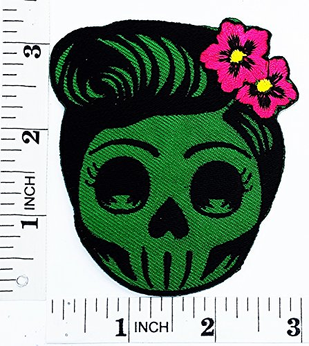 (Flower Sugar green Skull (green) Day of the Dead Lady Rider patch Motorcyle Bike Novelty patch Symbol Jacket T-shirt Patch Sew Iron on Embroidered Sign Badge Costume)