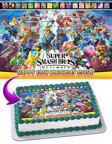 Super Smash Bros. Ultimate 2018 Edible Cake Image Topper Personalized Birthday 1/4 Sheet Custom Sheet Party Birthday Sugar Frosting Transfer Fondant Image ~ Best Quality Edible Image for -