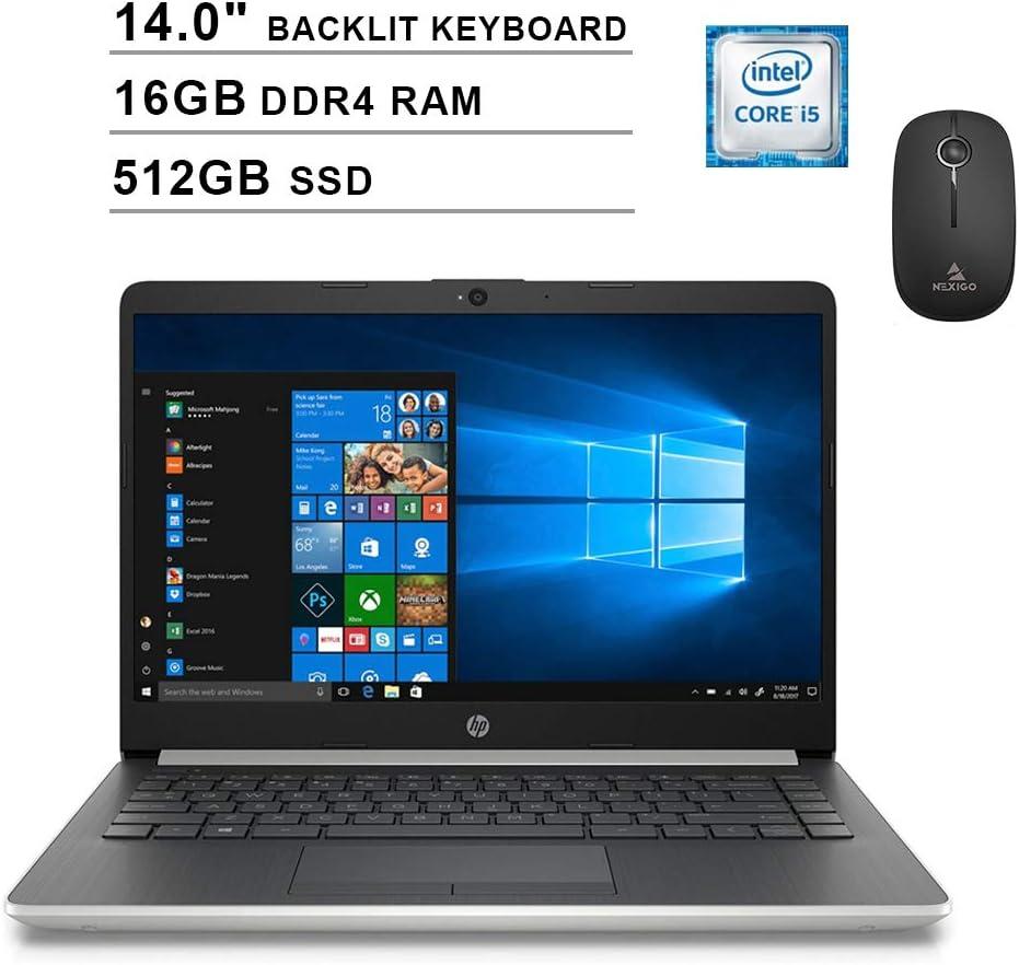 2020 Newest HP Pavilion 14 Inch Laptop (Intel Quad-Core i5-8265U up to 3.9GHz, 16GB RAM, 512GB SSD, Backlit KB, Webcam, Windows 10) (Silver) + NexiGo Wireless Mouse Bundle