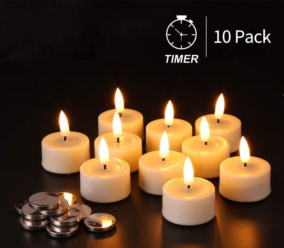Eywamage Batteries Included Flameless Tealight Candles Set of 10, Flickering Timer Led Tea Votive Candle, Real Wax Ivory D 1.6