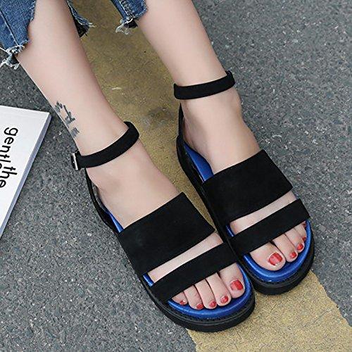 RUGAI-UE Verano sandalias de fondo plano solo estudiantes zapatos de ocio Black