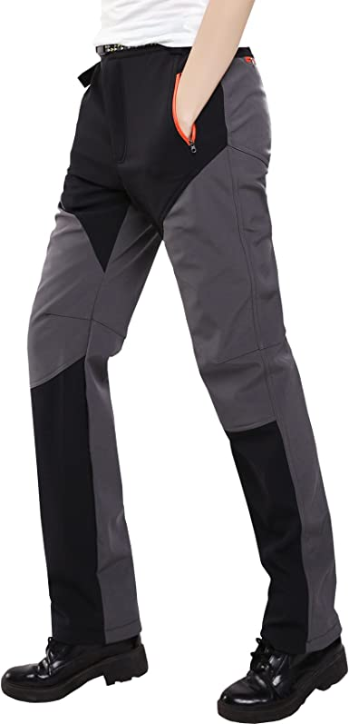 Sidiou Group Womens Waterproof Trousers Fleece Hiking Pants Ladies Outdoor Thicken Breathable Softshell Pants Trekking Pants Climbing Pants