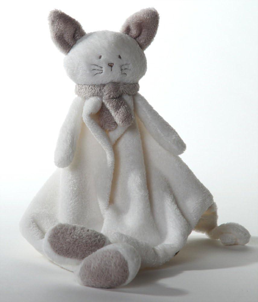 Chat doudou blanc et beige gris