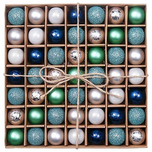 Valery Madelyn 49 Piezas Bolas de Navidad de 3cm, Adornos Navideños para Arbol, Decoración de Bolas de Navidad Plástico de Azul Verde y Plata, Regalos de Colgantes de Navidad (Deseos de Invierno)