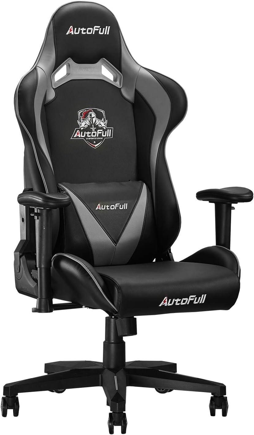 AutoFull Chaise Gaming en Similicuir, Fauteuil de Bureau Gamer, Siège Pivotante avec Appui tête et Oreiller Lombaire, Hauteur et Accoudoirs Réglable,