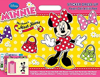 Bendon Disney Minnie Mouse Sticker Dress Up Paper Doll Artist Pad Coloring Activity