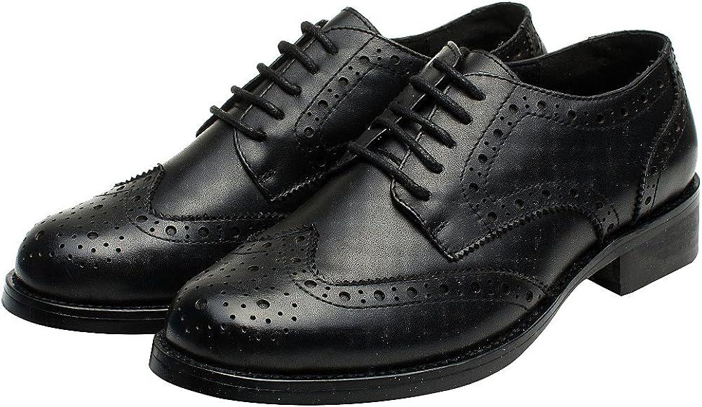rismart Femme Brogue Pointe Toe Robe Formelle Premier Cuir Derbies Chaussures