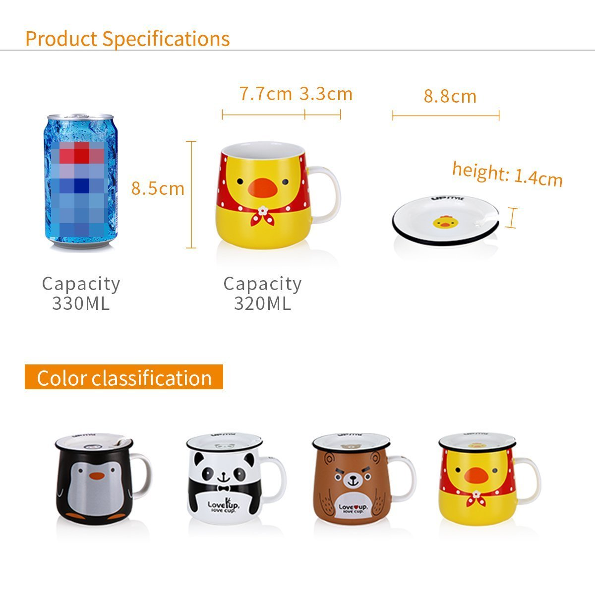 UPSTYLE Cute Animal Penguin Tea Mug Funny Lovely Tea and Coffee Mug Morning Coffee Milk Ceramic Water Cup with Lid and Handle for Office home - Best Gift for friends and family,10.8OZ(320ml)(Bear) by UPSTYLE (Image #2)
