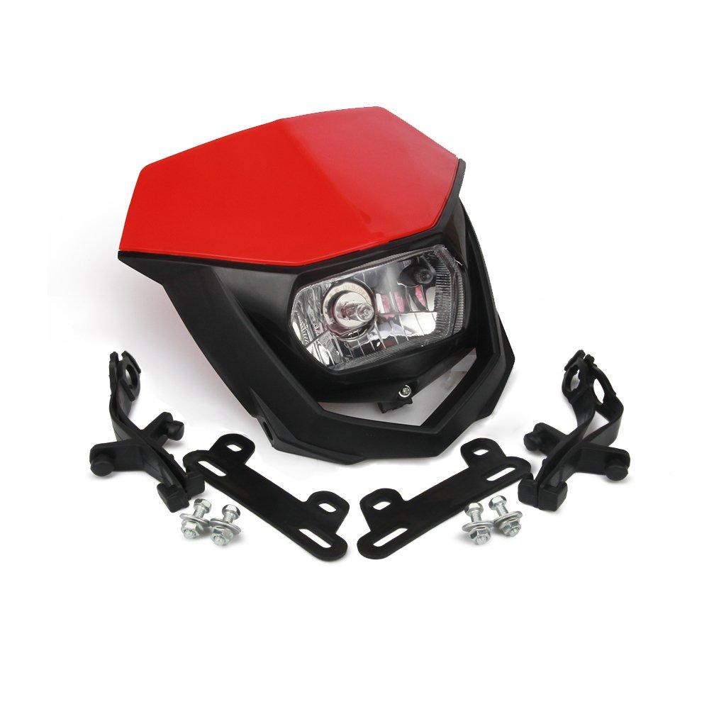 Moto universel Rouge phares lampe frontale lumi/ère avec Car/énage Street Fighter Masque Jour Running Light Lampes de signal pour Honda Cfr250r Cfr450r Cfr450 X Cfr250 XMoto Motocross