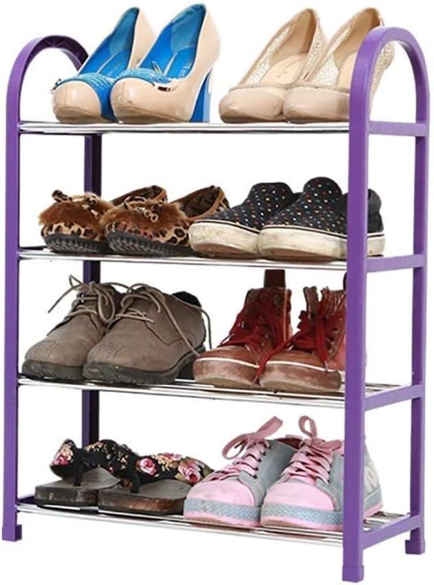 SCDXJ Shoe Rack Size : 60cm Retro Color Easy to Assemble Bamboo Shoe Rack 4-Tier Entryway Shoe Shelf Storage Organizer for Home Office