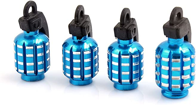 2 PCS Quality Blue Grenade-Shaped Anodized Metal Replacement Valve Stem Caps