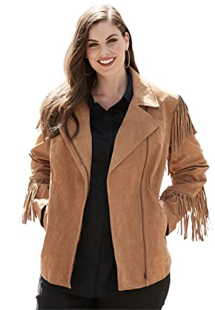 official price top design 2019 best sell Roamans Women's Plus Size Suede Moto Jacket with Fringe ...