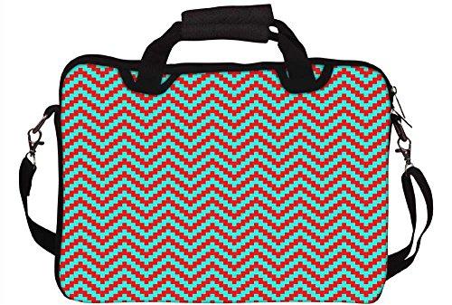 Snoogg rot und grün Streifen 30,5cm 30,7cm 31,8cm Zoll Laptop Notebook Computer Schultertasche Messenger-Tasche Griff Tasche mit weichem Tragegriff abnehmbarer Schultergurt für Laptop Tablet PC Ult