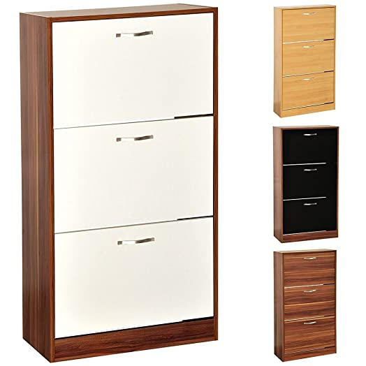 Home Discount 3 Drawer Shoe Cabinet Cupboard Shoe Storage Organiser Pull  Down Wooden Furniture Wood Unit
