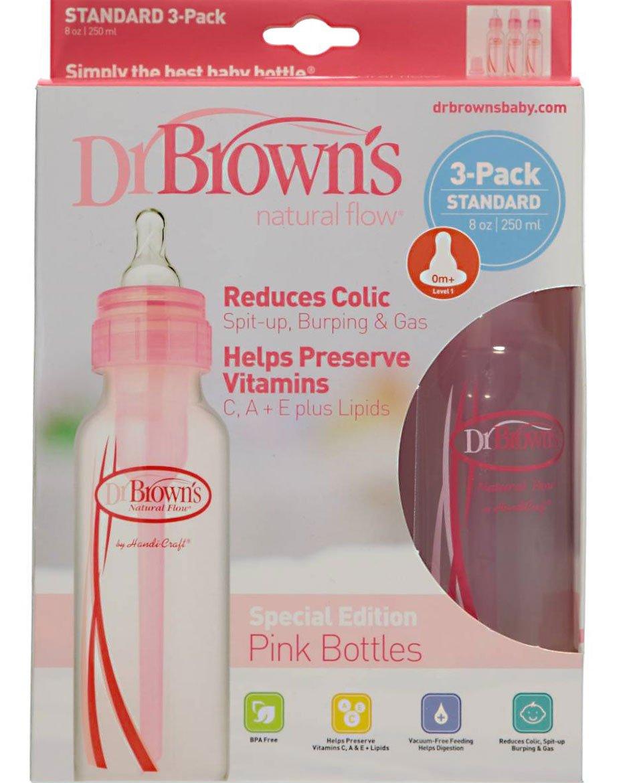 Brown/'s Natural Flow Options Baby Bottles 3 Pack 8 Oz Dr Pink