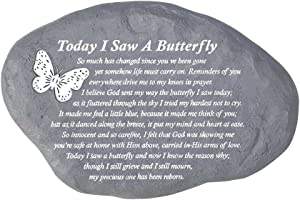 Dicksons Today I Saw A Butterfly Pewter Gray 10 x 7 Inch Resin Stepping Stone or Wall Plaque