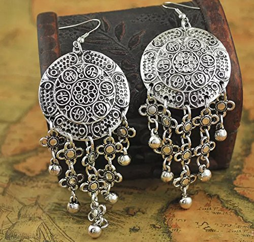 JWL1699 Mehrunnisa Oxidized Silver Tone Long Earrings For Girls