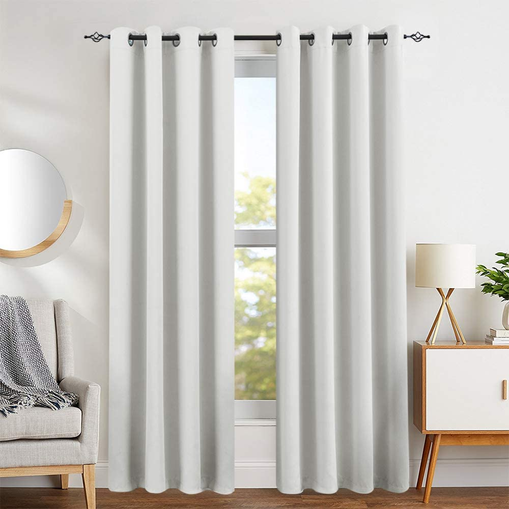 Amazon.com: White Blackout Curtains for Bedroom 95 inches Long