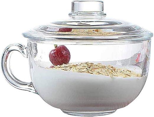 TAMUME 550ml Tazón De Cereal De Vidrio Para Microondas con Tapa de ...