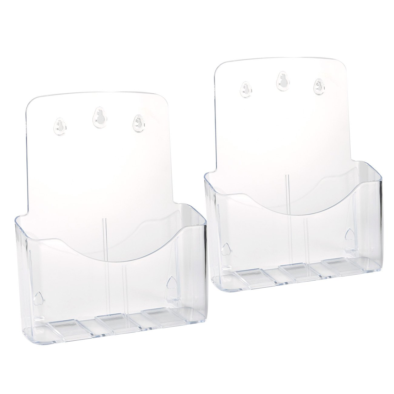 Acrylic Brochure Holder – 2 Pack Clear Full Page Pamphlet Holders for Flyers, Booklets, Notepads, Journals, Magazines, and Maps, Clear, 9.3 x 10.5 x 4 inches