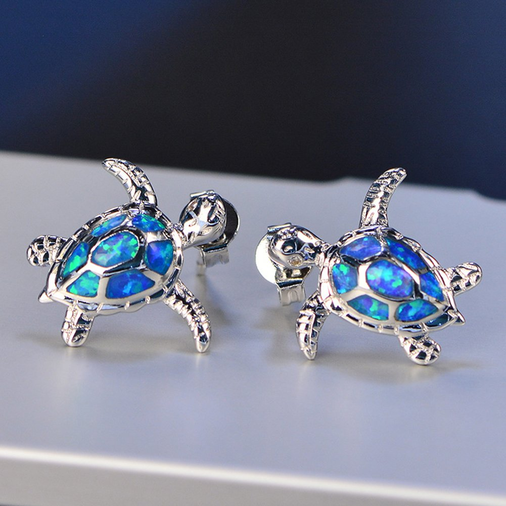 Blue Turtle Earrings Pendentif Long/¨/¦VIT/¨/¦ Good Luck 925 Sterling Silver Birthday Gifts JINTOP Ensemble de Bijoux Opale