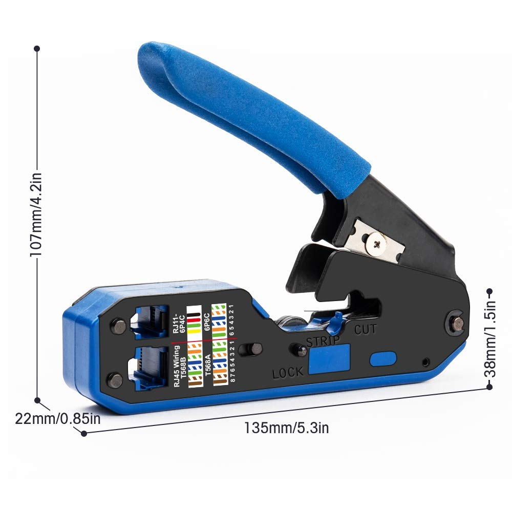 TOOGOO Rj45 Tool Network Crimper Cable Stripping Plier Stripper for Rj45 Cat6 Cat5E Cat5 Rj11 Rj12 Connector