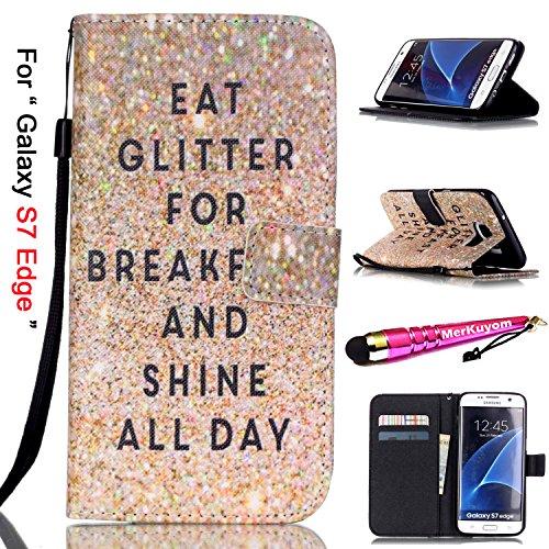 Galaxy S7 Edge - Case [Wrist Strap], MerKuyom [Kickstand] Premium PU Leather Wallet Pouch [Card Holder] Protective Flip Cover Case For Samsung Galaxy S7 Edge, +Stylus (NO Sparkling SHINE DAY Text) ()
