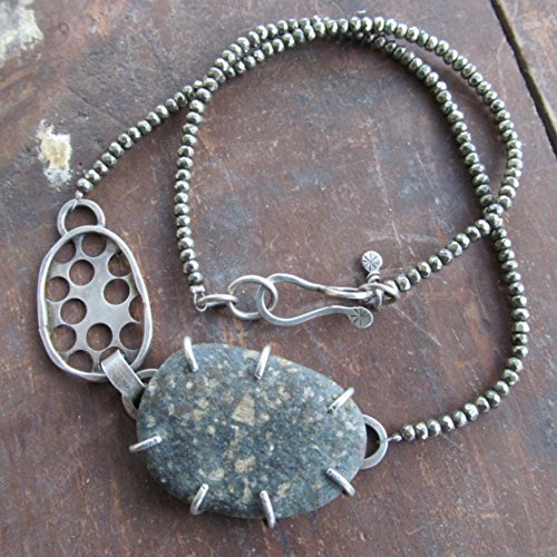 Short Beach Stone Necklace Silver with Sparkling Pyrite