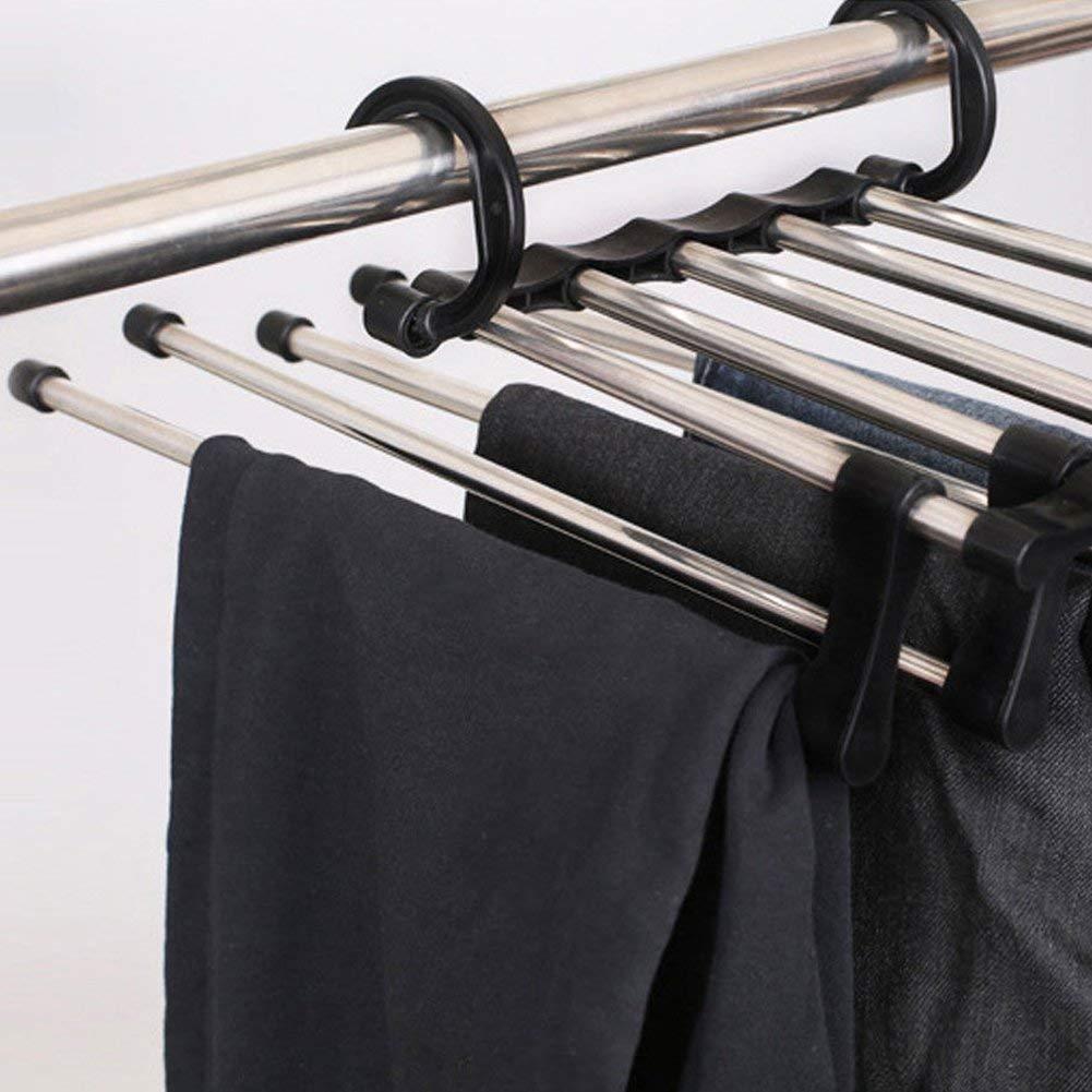 5-in-1 Hosen Wuudi Mehrschichtige platzsparend multifunktionale Teleskop-Schiene f/ür Hosen Krawattenhalter Faltbare Kleiderstange aus Edelstahl Handt/ücher