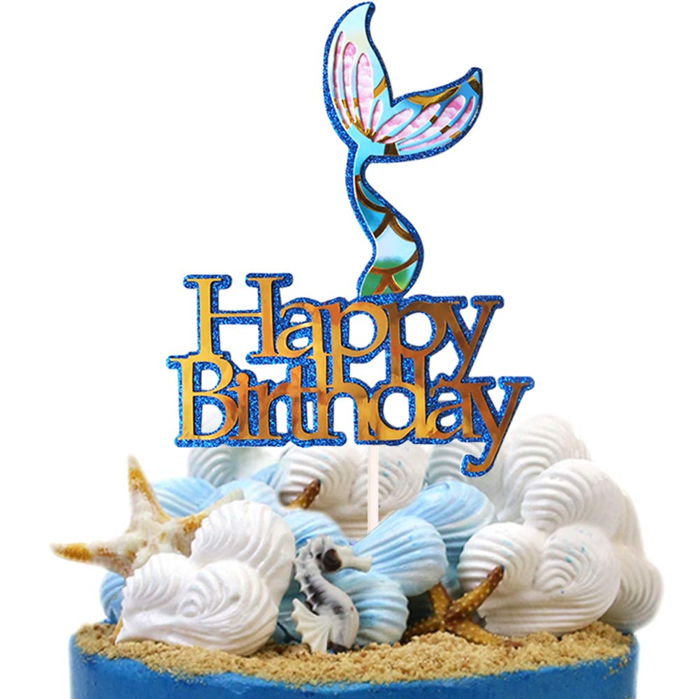 Amazon Mermaid Tail Themed Happy Birthday Cake Topper Pick Decoration For Baby Shower Party Favors Toys Games