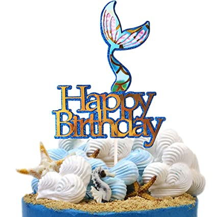 Image Unavailable Not Available For Color Mermaid Tail Themed Happy Birthday Cake Topper