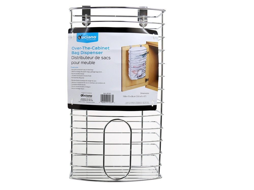 Over-the-Cabinet Kitchen Storage Grocery Bag Plastic Carrier Shopping Bag and Garbage Bag Holder Saver Dispenser Rack - Stainless Steel db Products