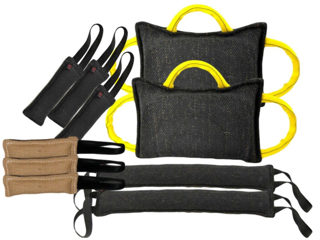 Tug Toy Bundle - 2 - 3 Handle Bite Pillows, 2 - 4'' X 24'' Tugs 2 Handle, 3 - 3'' X 10'' Tug Toys 1 Handle French Linen, 3 - 3'' X 10'' 1 Handle Jute Tugs - Redline K9