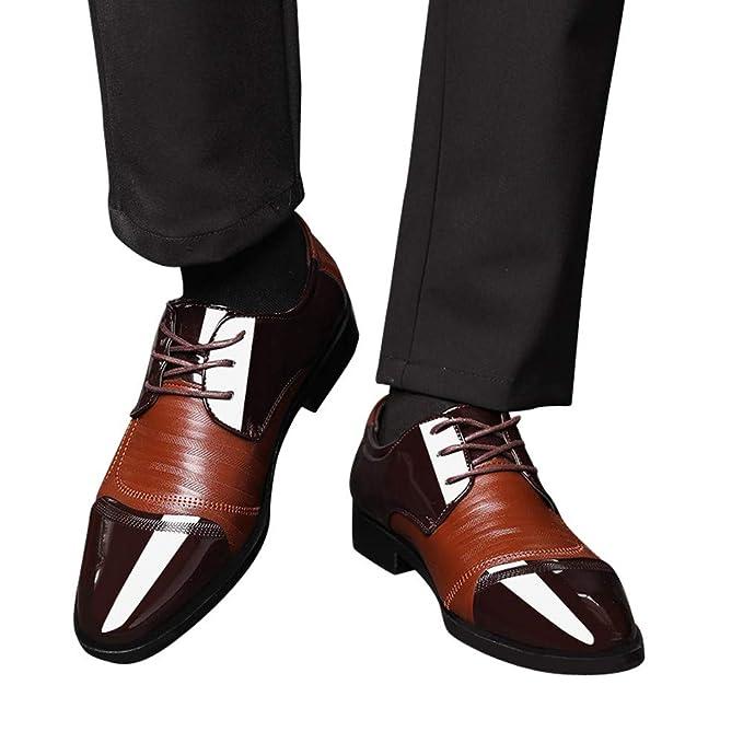 Beikoard-scarpa Uomo Scarpe da Uomo con Fibbia in Pelle Traforata Moderna  Classica con Lacci( 55e11578448