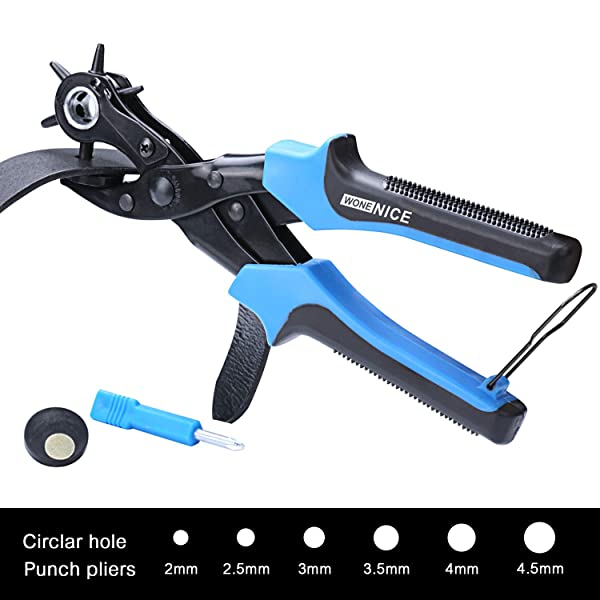 WoneNice Revolving Leather Hole Punches -2 Year Warranty -Professional Puncher for Belt, Saddle, Tack, Watch Strap, Shoe, Fabric, Paper, Eyelet - Easily Punches Perfect Round Holes in 2.0 mm- 4.5 mm (Color: Black&Blue)
