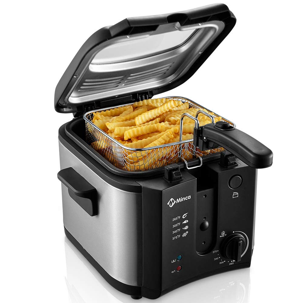 Electric Deep Fryer, M Minca 1500W Oil Fryer with 2.4 Liter Oil Capacity, Removable Cool Touch Basket, Adjustable Temperature Control by M Minca