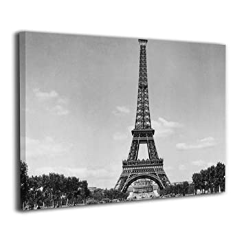 Amazoncom Lqz Paint The Eiffel Tower Black And White Canvas