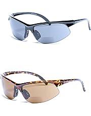 Mass Vision 2 Pair of Unisex Bifocal Sport Wrap Sunglasses - Outdoor Reading Sunglasses (Black/Tortoise 1.25)