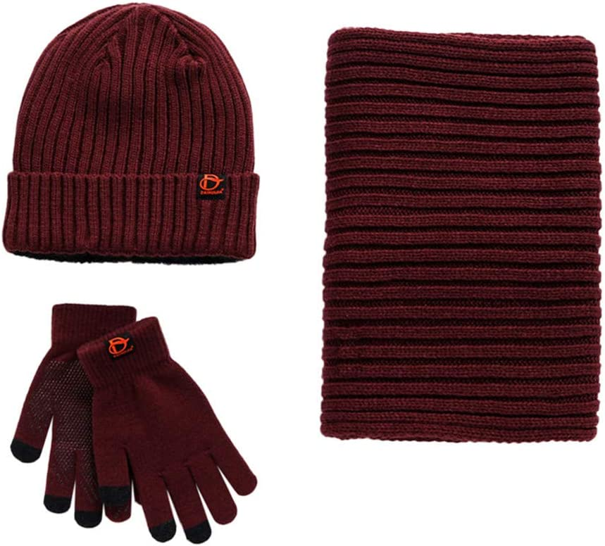 Eastlion Winter Fashion Knitted Warm Scarf Hat Gloves Three-piece Suit for Women