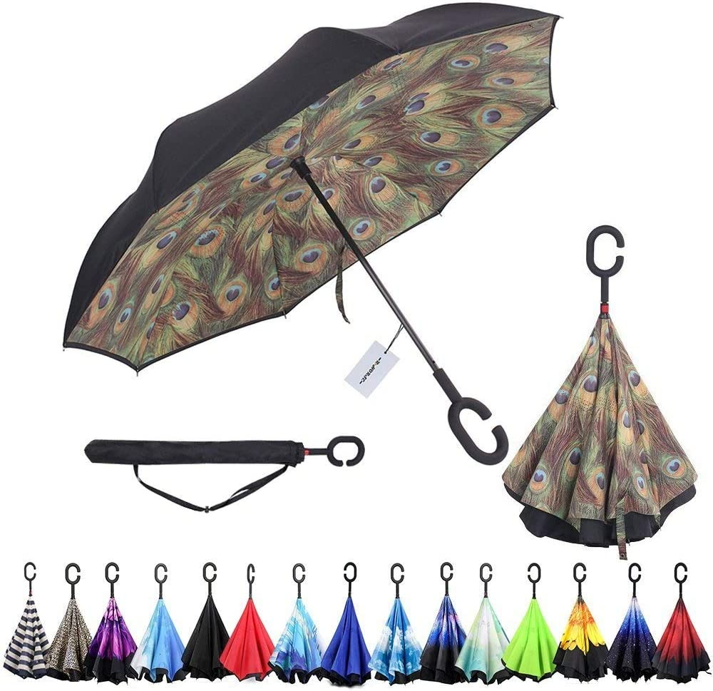Windproof And Rainproof Double Folding Inverted Umbrella With C-Shaped Handle UV Protection Inverted Folding Umbrellas Beauty And The Beast Car Reverse Umbrella