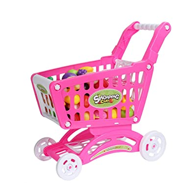 Pratcgoods Toy Shopping Cart Kid Educational Toy Gift Play House Toys - Includes Pretend Play Food Accessories for Kids Party Favors: Toys & Games