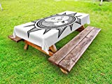 Ambesonne Occult Outdoor Tablecloth, Moon Inside The Sun with Stars Alchemy Clandestine Esoteric Solar Crescent Artwork, Decorative Washable Picnic Table Cloth, 58 X 84 inches, Black Grey